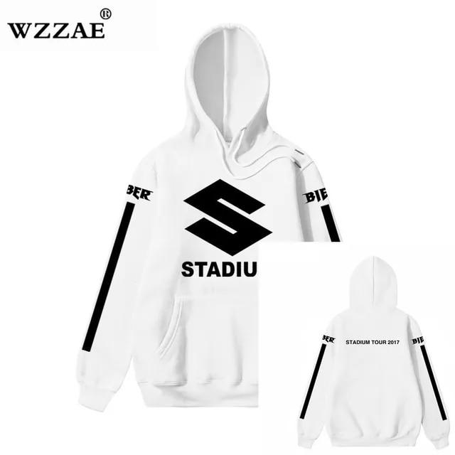 New Design JUSTIN BIEBER STADIUM TOUR Men Hoodies Hip Hop Fashion Casual Blacck Stripe Purpose Tour Sweatshirts S-XXL