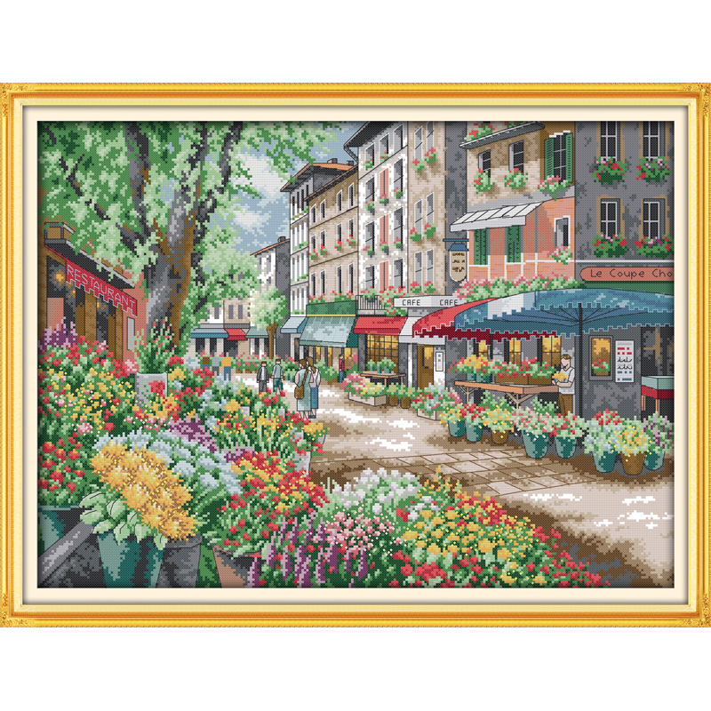 Everlasting Love Christmas Paris Flower Market Ecological Cotton Cross Stitch 11CT And 14CT  Printed New Store Sales