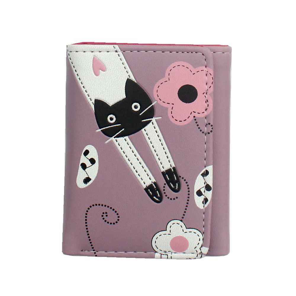 2018 new women cute cartoon cat style coin purse girl clutch short wallet  change purse Ladies bcacb8b0bcdd4