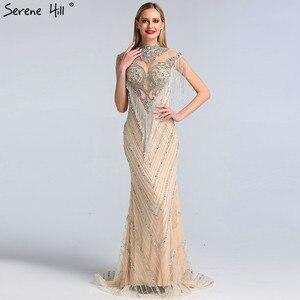 Image 4 - Dubai Beading Tassel Luxury Sexy Evening Dresses 2020 Silver Sleeveless High end Evening Gowns Serene Hill LA60811
