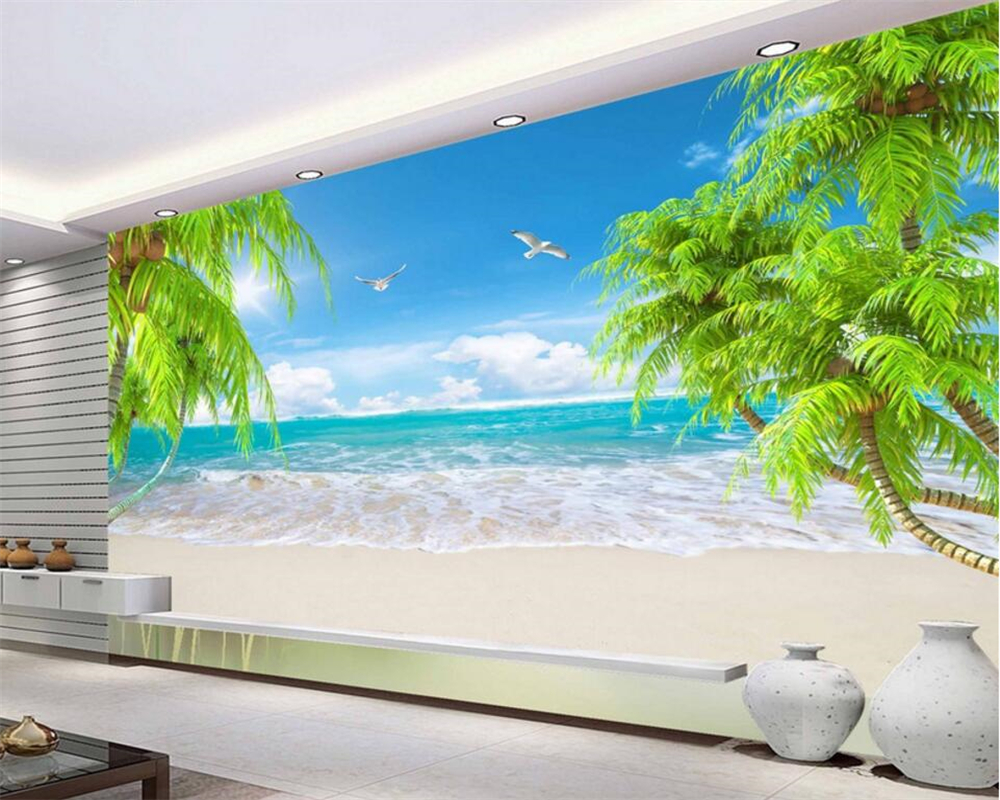 Beibehang 3D wallpaper sea view beach coconut tree landscape photo wallpaper 3D living room bedroom background fresco wallpaper 3d coconut tree beach sunshine pvc wall sticker sea water stone blue sky full color decals home decor page 2