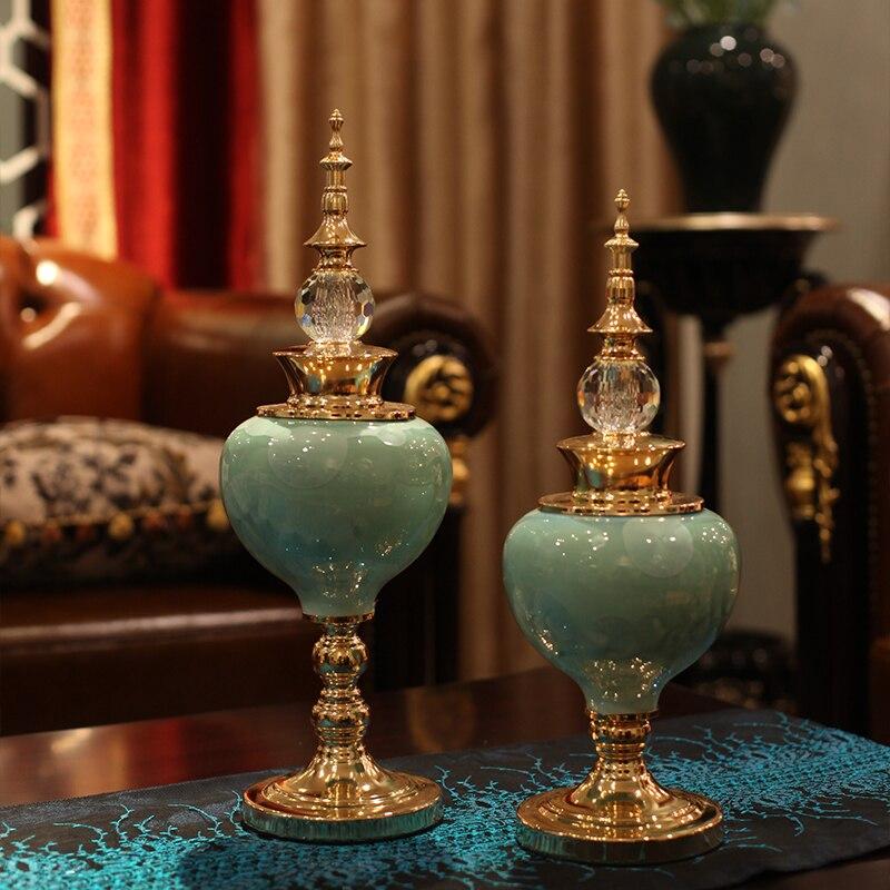 Creative European Furnishing Article Sitting Room TV Ark Home Decoration Golden Crystal Glaze Ceramic Craft Desktop Wedding Gift-in Figurines & Miniatures from Home & Garden    1