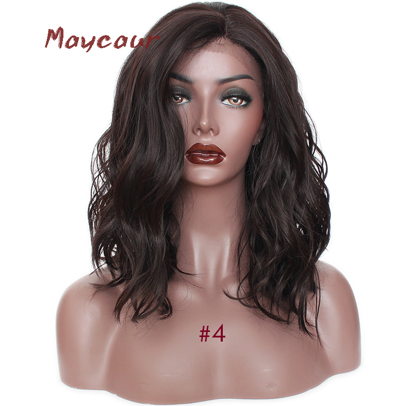 Short Wave Synthetic Lace Front Wig Free Part Wave Hair Wigs For Black Women Heat Resistant 180 Density