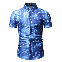 Men Shirts Summer Short Sleeve Turn-Down Collar Stars Print Casual Dress Camisas Masculina Male Social Classic