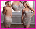2015 Sexy Crystal Cocktail Party Dresses Backless Short Mini Beads Transparent Free Shipping LC037