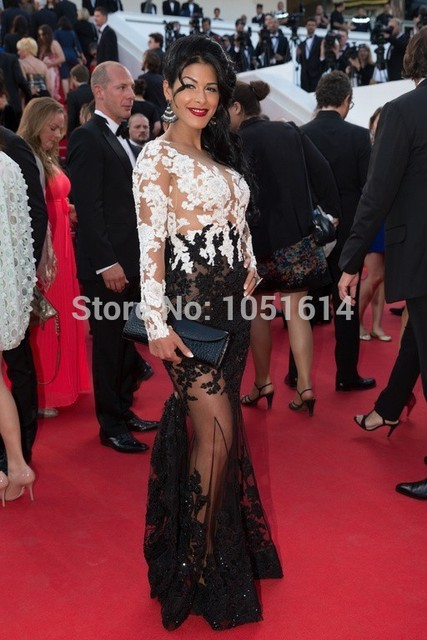 41031815d47 Real Pictures Sexy Long Sleeve Appliqued Mermaid Amey Nour Red Carpet  Evening Celebrity Dresses Cannes Film