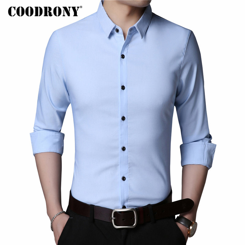 COODRONY Men Shirt Mens Business Casual Shirts Famous Brand Clothes 2019 Autumn Classic Long Sleeve Camisa Social Masculina 8721
