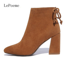 Genuine Leather Martin Boots Autumn and winter Fashion Brand Thick Heel High Heel Boots Black Apricot