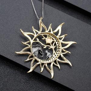 Image 3 - Gems Ba Lê Peridot Tự Nhiên Gemstone Mỹ Trang Sức Nữ Bạc 925 Handmade Thiên Mặt Trăng Mặt Trời Mặt Dây Chuyền Vòng Đeo Cổ Cho Nữ