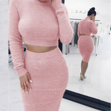 2 PCS Set 2018 Autum Women Knit Turtleneck Long Sleeve Pullover+ Knee-Length Bodycon Skirt Autumn Women Knit Set(China)