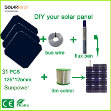 Boguang DIY your solar panel kits with 125*125mm sunpower solar cell use flux pen+tab wire+bus wire for DIY 90W Solar camp .