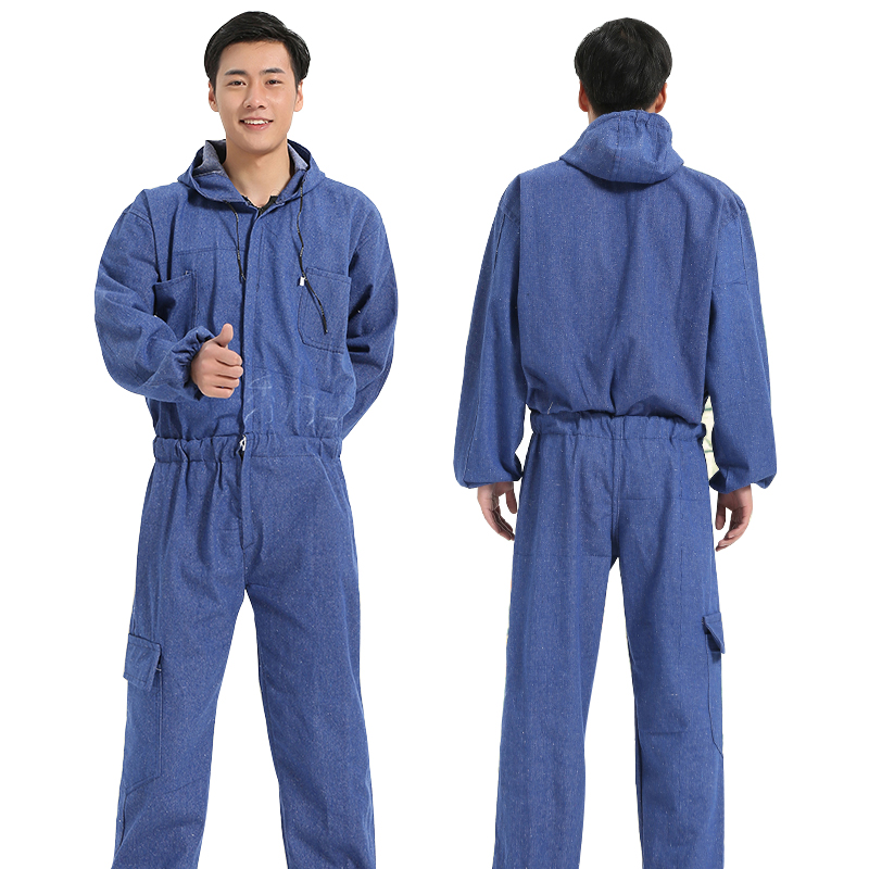Men's Work Clothing Long Sleeve Denim Coveralls Dustproof Clothes Hooded Overalls Worker Repairman Machine Auto Repair Uniforms цены онлайн