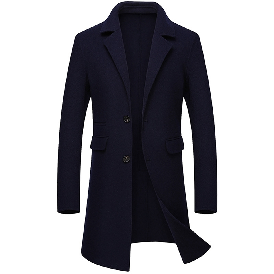 100% Wool Man Long Coats High Quality Brown Purple Black Single Breasted Pure-wool Male Trench Pockets Men Woolen Overcoat