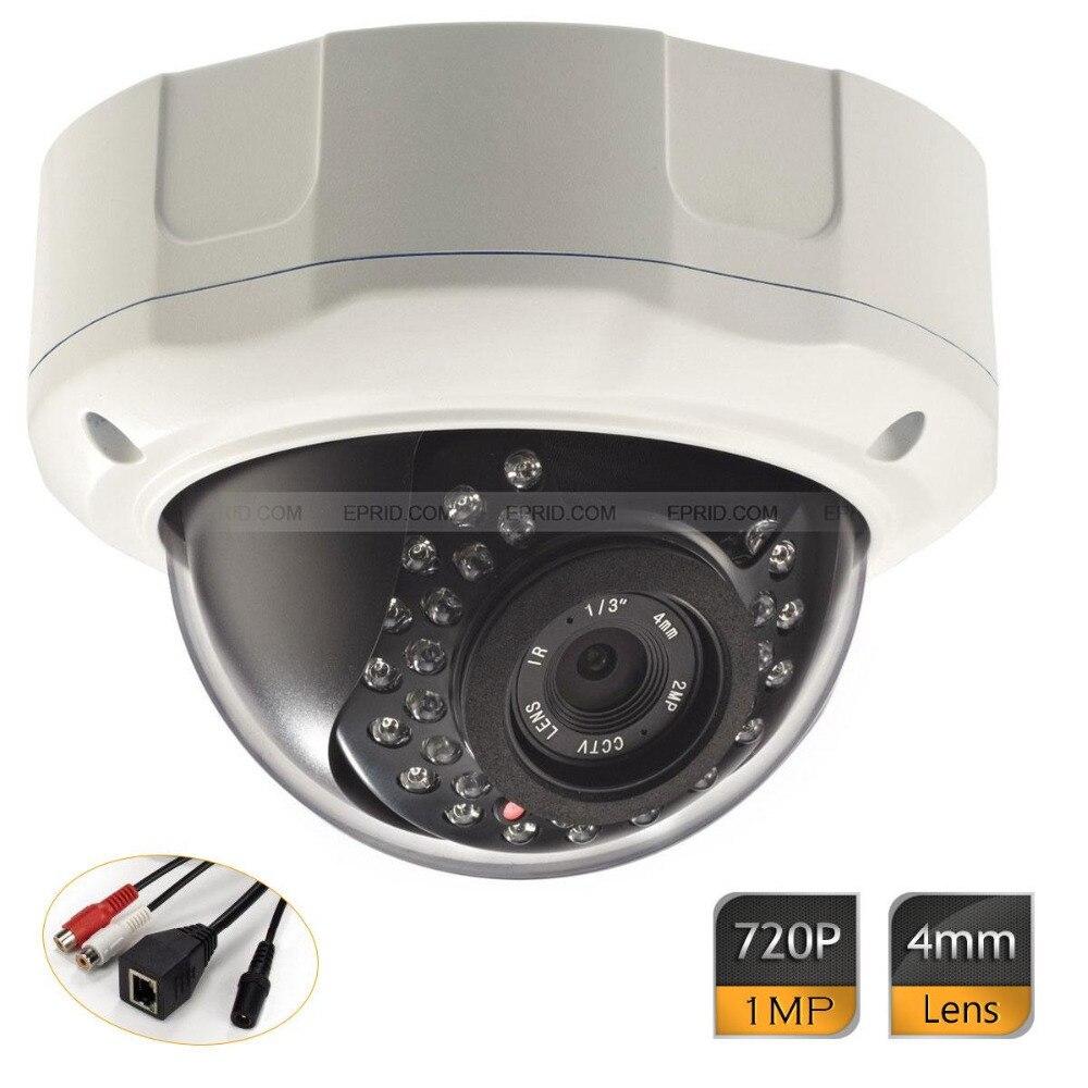 Faible Lux intérieur/extérieur jour/nuit Onvif HD IP 1MP caméra dôme anti-vandalisme 720 P