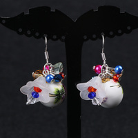 Korean Every Day Special Offer Of Blue And White Porcelain Bead Flower Earrings 925 Sterling