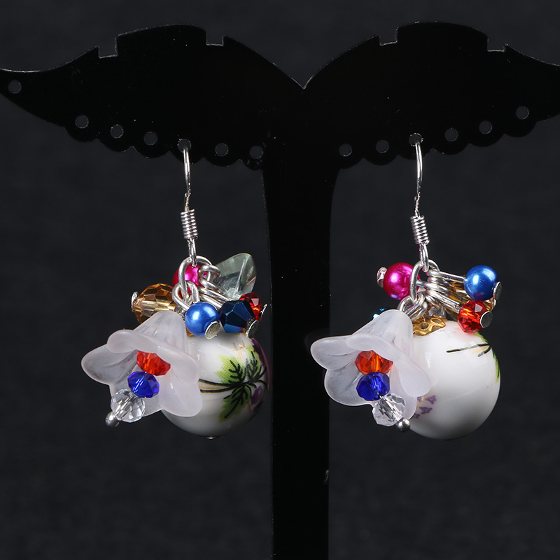 every day special offer of blue and white porcelain bead Flower Earrings 925 Sterling Silver Hook two for one