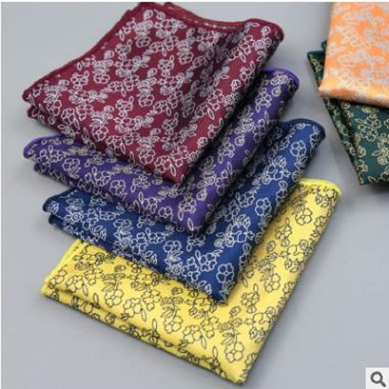 25*25CM Men's Vintage Floral Paisley Silk Handkerchief Pocket Square Fashion Men Hanky For Wedding Party Chest Towel