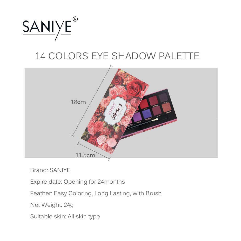SANIYE 14 צבעים לאורך זמן גליטר צלליות צבעוני צלליות pallete קוסמטי עלה צבעים איפור maquillage yeux T067