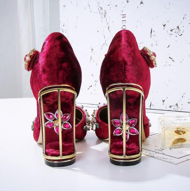 Janes Picture Mary Oiseau Velours Mariage Picture Chaussures Ethnique Robe Creusé Talon Fleur Haute Crsytal De Pompes Femmes as As Embelli Cage pdRdrw