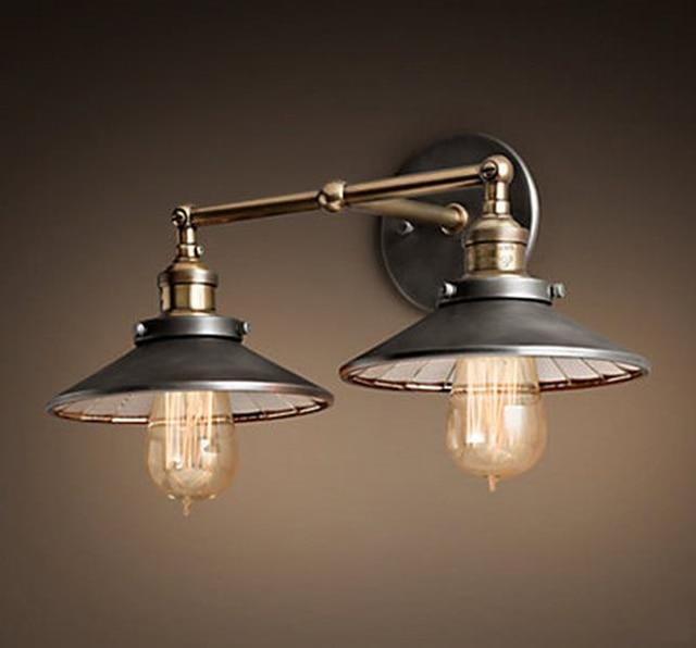 Vintage Industrielle Ameican Pays Fer Edison Double Applique ...