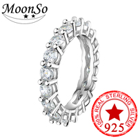 2018 NEW Design 925 Sterling Silver Eternity Band Ring Finger For Women Wedding Anniversary Jewelry Discount