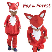 Child Little Fox Costume Kids Animal Dress Up Woodland Red Cosplay Halloween Fancy for Toddlers Carnival