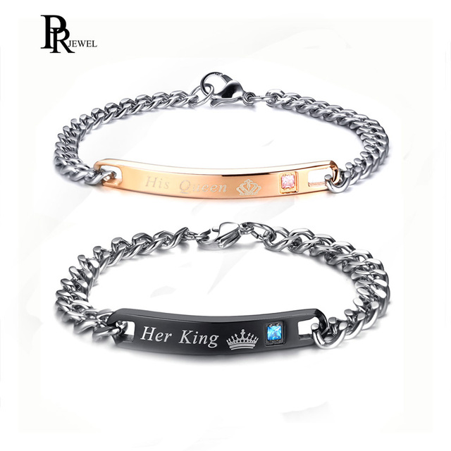 046a87d7925 Gift for Lover His Queen Her King Stainless Steel Couple Bracelets For  Women Men Jewelry Matching