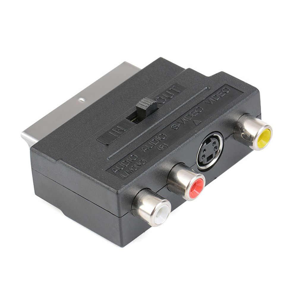 RGB SCART untuk 3 RCA S-Video Adaptor Komposit RCA Svhs S-Video AV TV Audio untuk Video DVD Recorder Televisi TV Proyektor