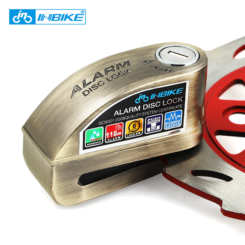 купить INBIKE Anti-theft Motorcycle Wheel Disc Brake Lock Security Disc Lock Bicycle Bike Lock with 3 Keys and Send Lock Bag Alarm Rope по цене 2001.85 рублей