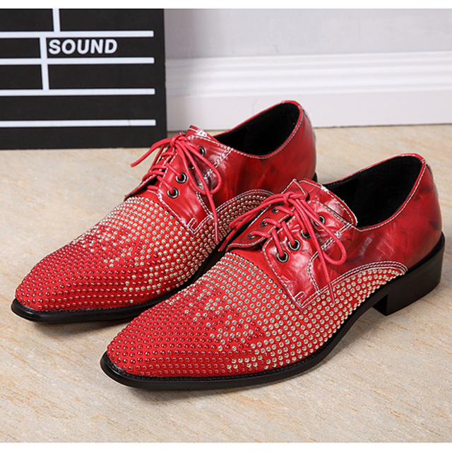 328ac8860db8 Mens Pointed Toe Dress Shoes Platform Oxford Shoes for Men Height Increase  Black Red Rhinestones Wedding Shoes