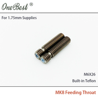 2017 Special Offer 2Pcs Makerbot MK8 Feed Throat Stainless Steel Pipes M6X26 Teflon PTFE Core for 1.75mm Supplies Free shipping