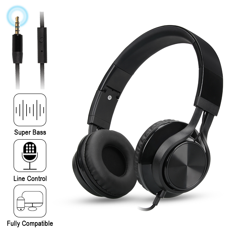 Folding Stereo Bass Headset 3.5mm Wired Music Earphone Headphones with Microphone Gaming Headset for Phone Mp3 PC Computer 2017 hoco professional wired gaming headset bass stereo game earphone computer headphones with mic for phone computer pc ps4