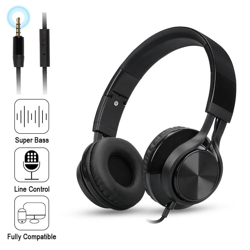 bilder für Folding Stereo Bass Headset 3,5mm Wired Musik Kopfhörer Kopfhörer mit Mikrofon Gaming Headset für Telefon Mp3 PC Computer