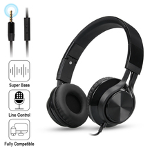 On sale Folding Stereo Bass Headset 3.5mm Wired Music Earphone Headphones with Microphone Gaming Headset for Phone Mp3 PC Computer
