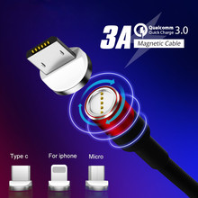 Kerokuru QC 3.0 Quick Charge 3A Magnetic Cable Type C Micro Usb Fast Charging LED Light For iPhone Xiaomi Huawei Phone 1M
