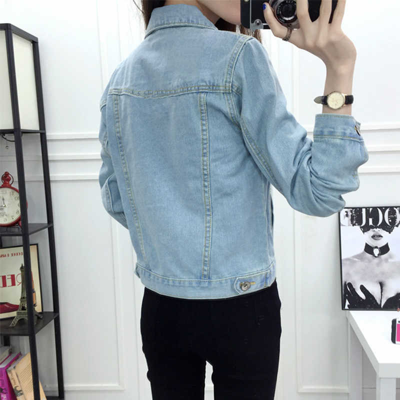 Spring Autumn Women Plus Size 3XL basic jeans jacket bomber Short coat Bleach Full Sleeves Single Breast Slim Women Denim Jacket