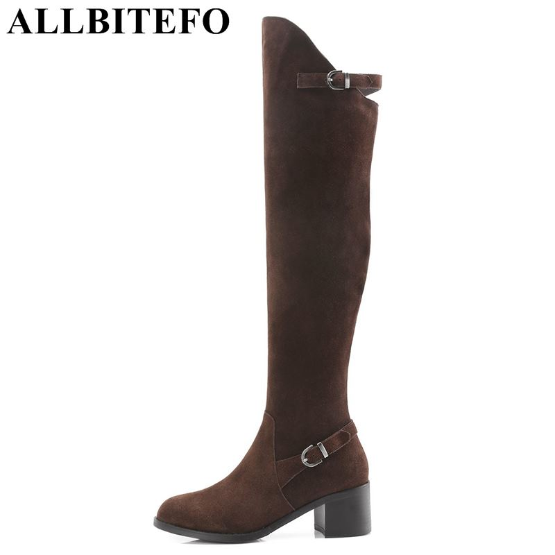 ALLBITEFO natural genuine leather women over knee boots sexy high heel lace up thigh high boots Winter warm girls high boots allbitefo natural genuine leather women boots high quality winter girls knee high long boots fashion thigh high boots for woman