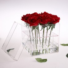 Valentines Day Rose Flower Storage Box Transparent Acrylic Paper Packaging Carton Plus Foam Label Gift For Girls