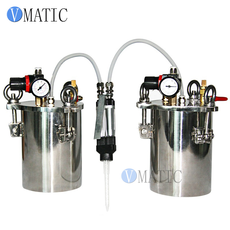 Free Shipping VMATIC Manual Dual Liquid Glue Dispensing Valve Gun With Stainless Steel Air Pressure Tank free shipping 2017 upgrade 20g 10g stainless steel hamburger sauce gun page 8