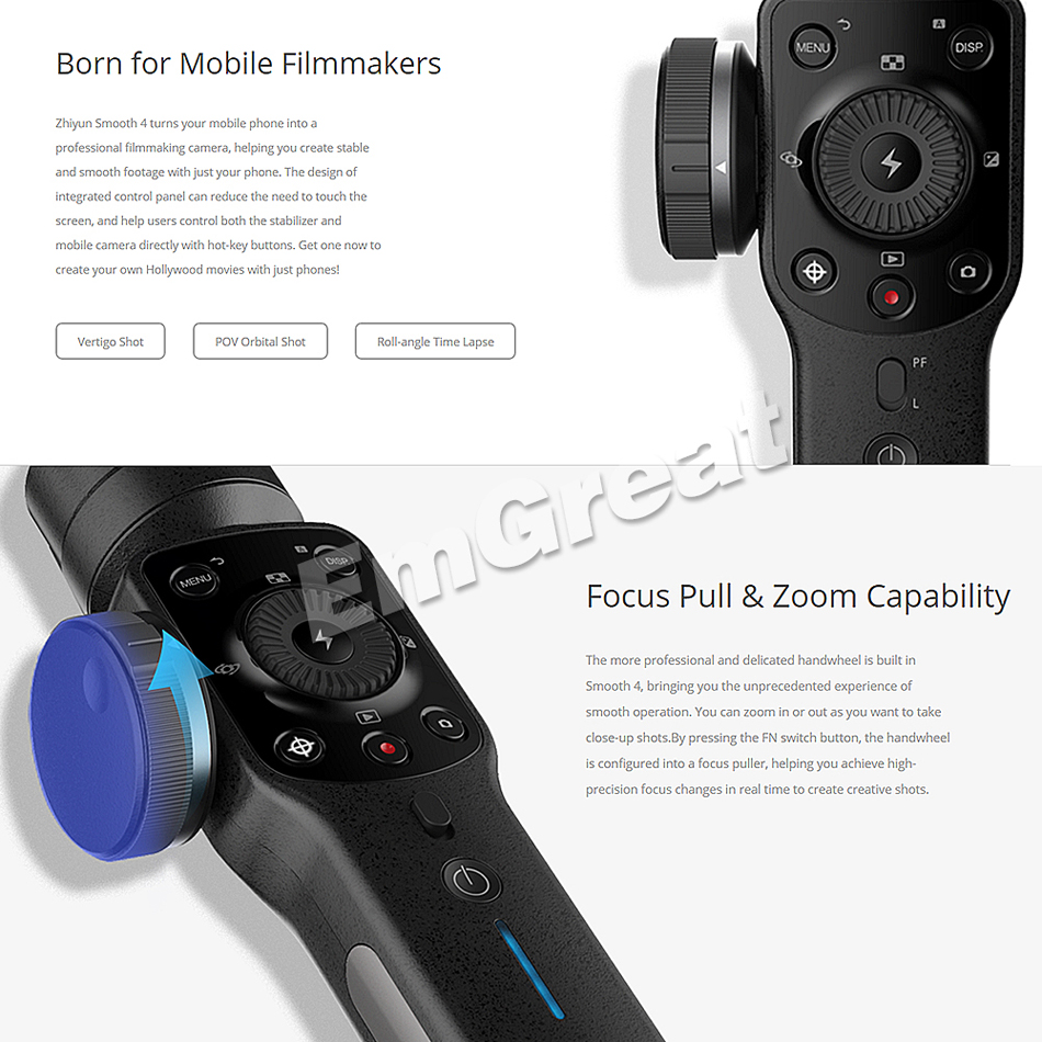 Zhiyun Smooth 4 3 Axis Handheld Gimbal Stabilizer For Smartphone Crane 2 With Follow Fokus Mirorrles Dslr Freeship Ship Camera Focus Control All