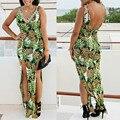 4407 Summer women pineapple dress backless split long dress high waist v-neck evening party maxi dress