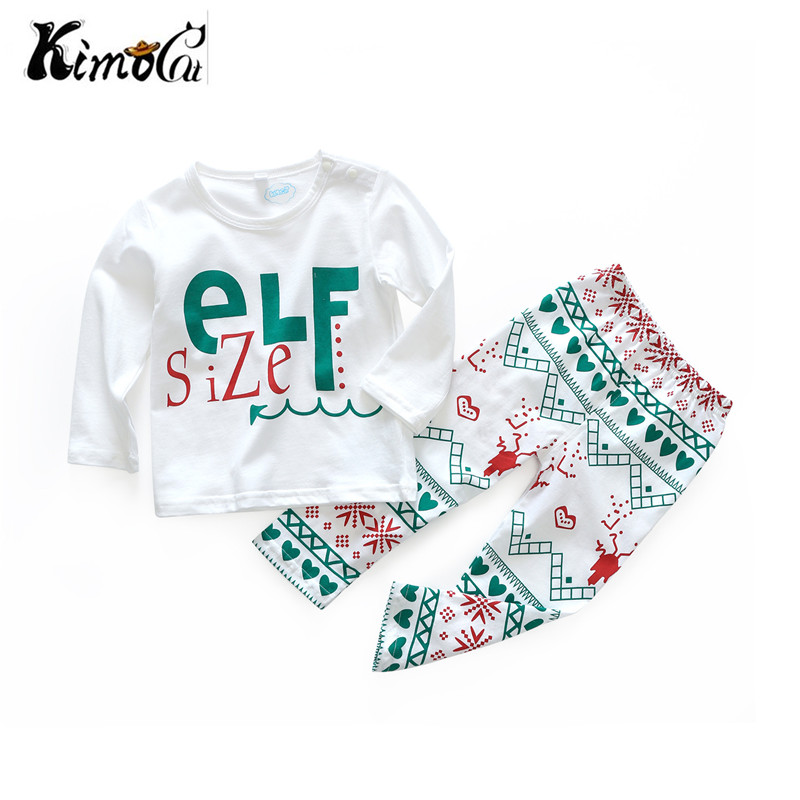 Kimocat new baby boy clothes Spring and autumn long sleeves Christmas elf printed baby girl suits baby born