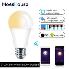 Wifi-патрон, умный свет лампы светодиодный светильник 7 Вт мягкий белый дневной свет умная жизнь/Tuya дистанционное управление работает с Alexa Echo Google Home E27 E26