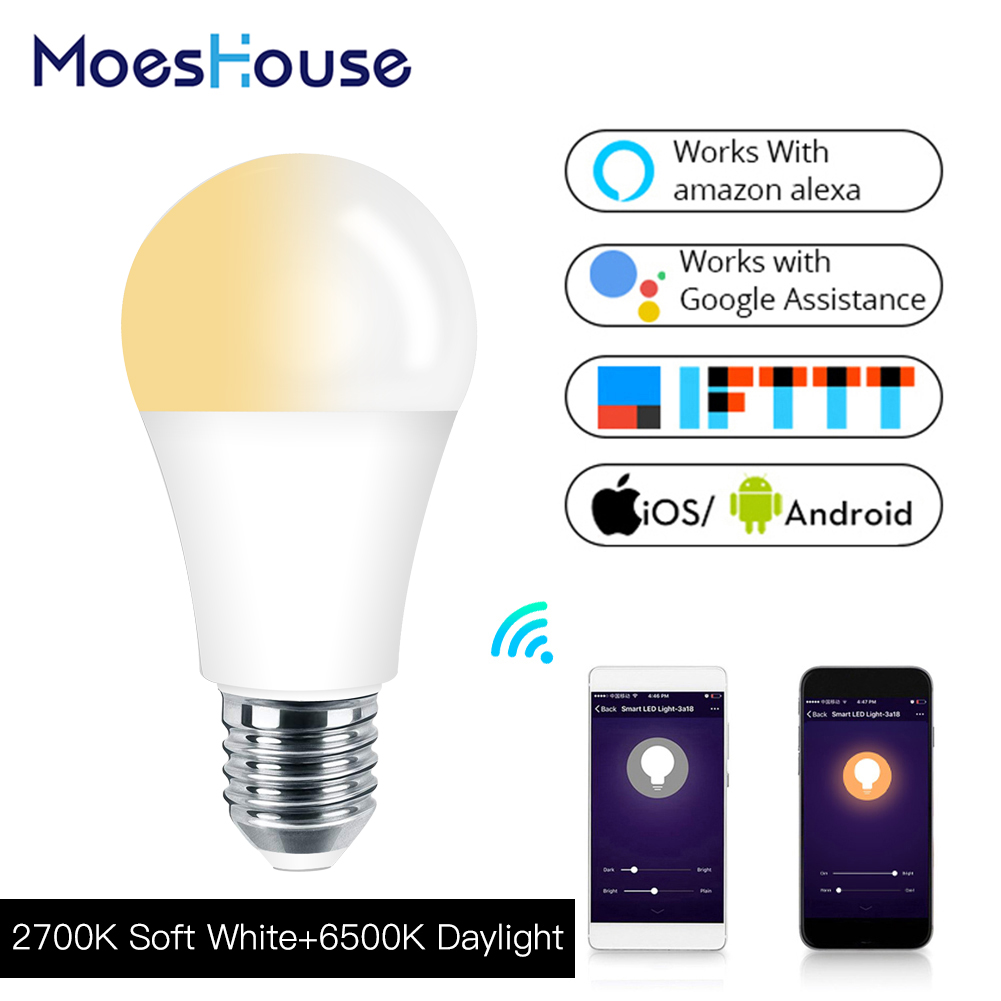 WiFi Smart Light Bulb LED Lamp 7W Soft White Daylight Smart Life/Tuya Remote Control Works With Alexa Echo Google Home E27 E26