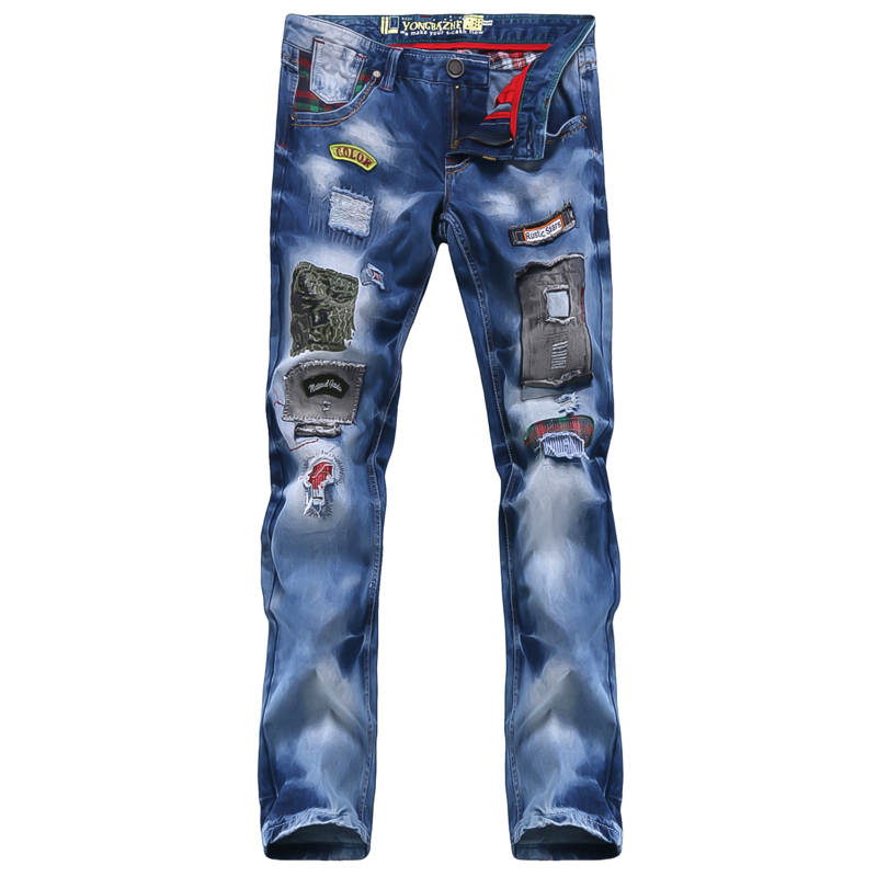ФОТО 2016 new popular style hole patch patch beggars Slim jeans pants men men's large size men's fashion trousers