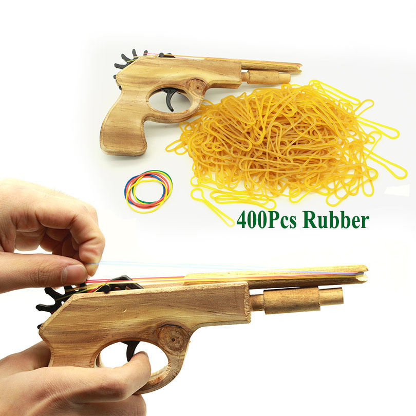 Unlimited bullet Classical Rubber Band Launcher Wooden Hand Pistol Gun Shooting Toy Guns Gifts Boys Outdoor Fun Sports For Kids