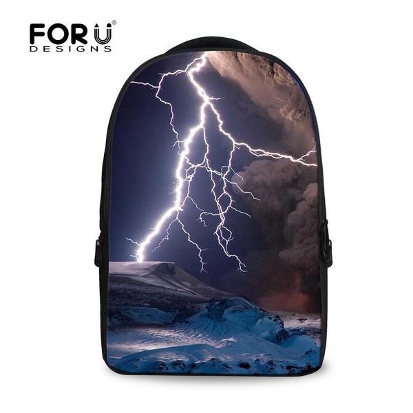 ФОТО FORUDESIGNS new design kids school backpacks women fashion print lightning backpacks for teenager girls animal backpack