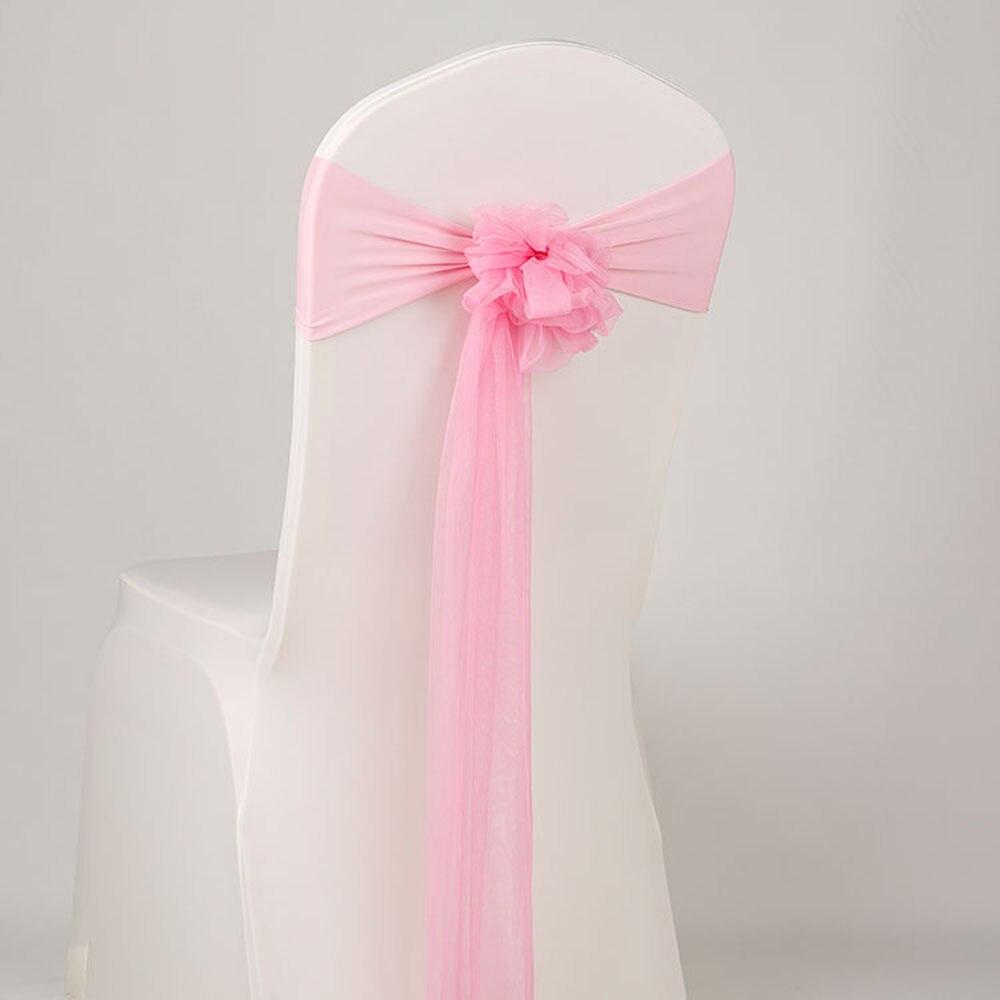 Hot 50 stks/partij Roze/Blauw Al Gebonden Mesh Stoel Sash Voor Bruiloft Decoratie Verjaardag Ceremonie Banket Stoel Terug Band-in sjerpen van Huis & Tuin op  Groep 1