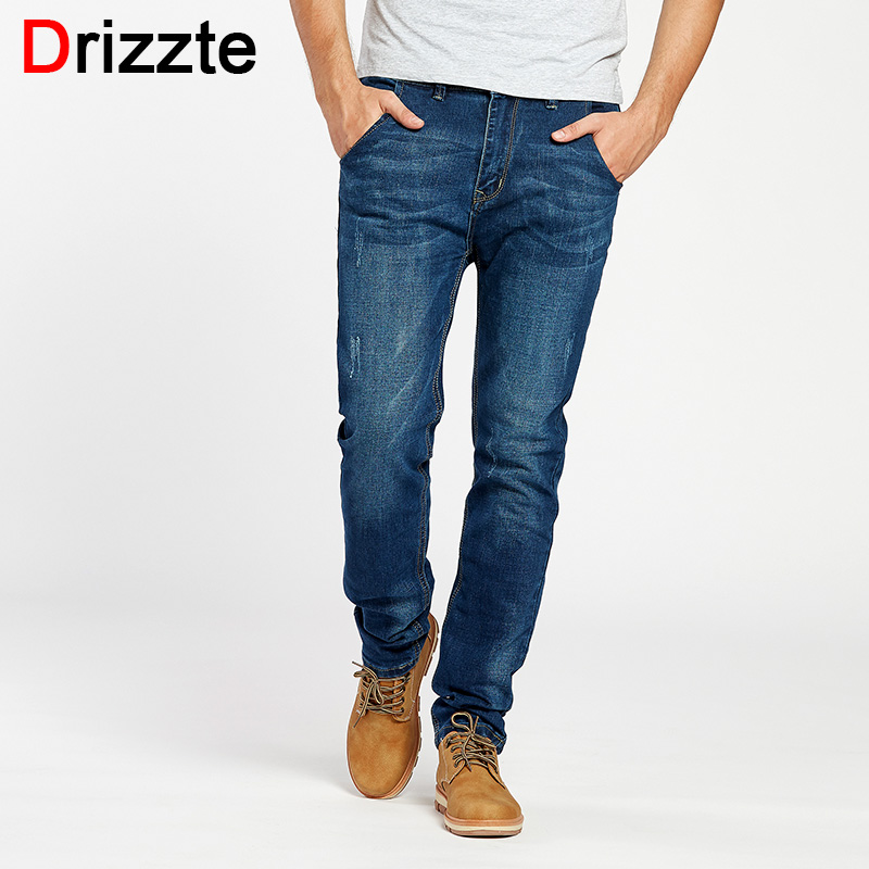 Drizzte Mens Stretch Jeans Blue Cotton Denim Man Slim Jeans Jean For Men Trousers Pants 34 36 38 40 42 drizzte men s jeans classic stretch blue denim business dress straight slim jeans size 34 35 36 38 pants trousers jean for men