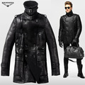 Hanmiis fur one piece genuine sheep leather jacket merino wool air force colonel coat with leather gloves and Hanmiis bag